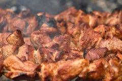在串BBQ格栅烤的开胃肉 库存图片