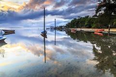 在丹戎aru海滩,纳闽的小船 马来西亚04 免版税图库摄影