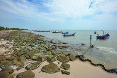在丹戎Piandang的渔船@取缔Pecah霹雳州马来西亚 库存图片