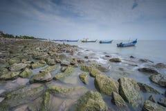 在丹戎Piandang的渔船@取缔Pecah霹雳州马来西亚 免版税图库摄影