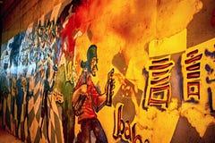 在主要足迹的街道画在奥马哈 图库摄影
