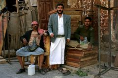 在义卖市场的下午在Sana'a 免版税库存照片