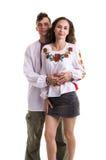 在乌克兰全国衣裳的夫妇 免版税库存照片