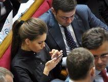 在乌克兰的Verkhovna Rada的会议大厅里 免版税图库摄影