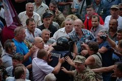 在乌克兰议会之外的碰撞 库存图片