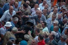 在乌克兰议会之外的碰撞 库存照片