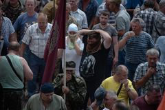 在乌克兰议会之外的碰撞 免版税库存照片