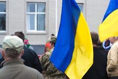 在乌克兰镇抗议行动在2017年10月2日的切尔卡瑟地区 免版税库存照片
