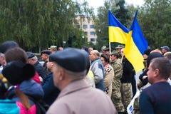 在乌克兰镇抗议行动在2017年10月2日的切尔卡瑟地区 免版税图库摄影
