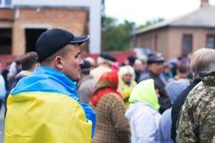 在乌克兰镇抗议行动在2017年10月2日的切尔卡瑟地区 免版税库存图片