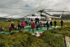 在乌宗火山破火山口的停机坪 克罗诺基火山在堪察加半岛的自然保护 库存图片