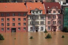 洪水在乌斯季nad Labem,捷克 免版税库存照片