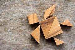 在乌龟形状的木七巧板难题 免版税图库摄影