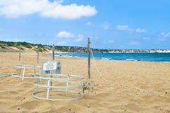 在乌龟海滩的金属笼子 库存图片
