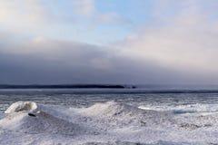 在乔治湾的冬天场面在微小的乡,安大略 图库摄影
