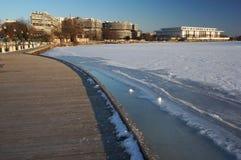 在乔治城江边的冬天 免版税库存图片