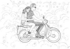 在乘坐摩托车的爱的夫妇 向量例证