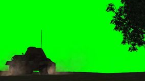 在乘驾的军用装甲车-剪影-绿色屏幕