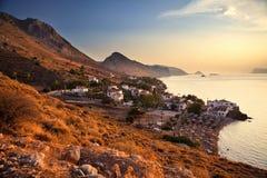 在九头蛇海岛的日落 免版税库存图片