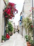 在九重葛中的传统街道在rethymno城市希腊 库存图片