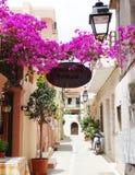 在九重葛中的传统街道在rethymno城市希腊 免版税图库摄影