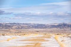 在乡下公路的随风飘飞的雪 免版税图库摄影