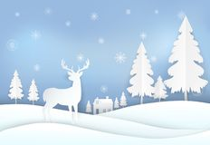 在乡下和雪花的鹿 圣诞节背景资料艺术样式 皇族释放例证
