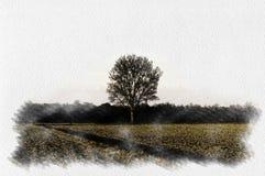 在乡下掠过一棵孤零零树的水彩例证在冬天 库存照片
