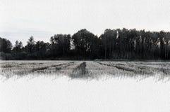 在乡下掠过木头的水彩例证在冬天 库存图片
