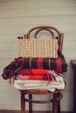 在乡间别墅的秋天 与舒适毯子和花的季节性土气装饰 库存图片