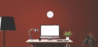 在书桌上的计算机显示器和办公室工具 免版税库存图片