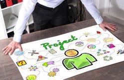 在书桌上的项目概念 免版税库存照片