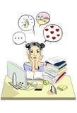 在书桌后的女孩 免版税库存照片