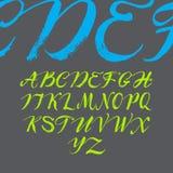 在书法刷子的字母表。 免版税库存图片