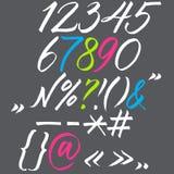 在书法刷子的字母表。 免版税库存照片