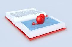 在书游泳的心脏 图库摄影