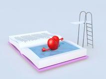 在书游泳的心脏 库存图片