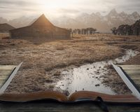 在书的平安的风景 库存照片