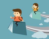 在书的男孩和女孩飞行 向量例证