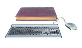 在书,计算机里面的笔记本 免版税图库摄影