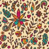 在乱画样式的花卉无缝的花卉样式 免版税库存照片