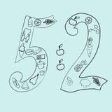 在乱画样式的5-2个饮食手拉的传染媒介例证 皇族释放例证