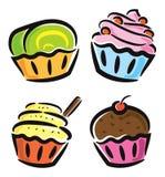 五颜六色的杯形蛋糕象 库存图片