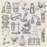 在乱画样式的化学象 库存例证