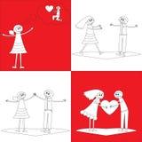 在乱画样式的四对愉快的夫妇 免版税库存照片