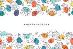 在乱画样式的复活节彩蛋无缝的构成 手拉的向量例证 免版税库存照片