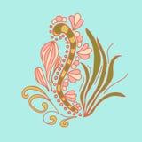 在乱画样式的海草 库存图片