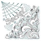 在乱画样式的社会网在白色背景 免版税库存照片