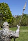 在争斗修道院的11世纪战士雕塑 库存图片