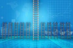 在事业进步概念- 3d的不同的梯子翻译 库存图片